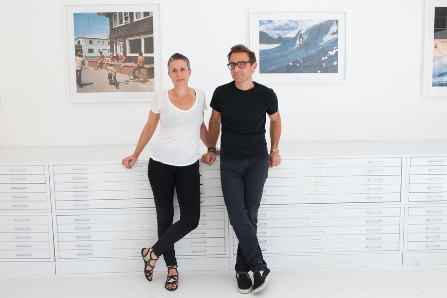 Camilla and Benjamin Trigano at M+B, Benjamin's Los Angeles gallery.