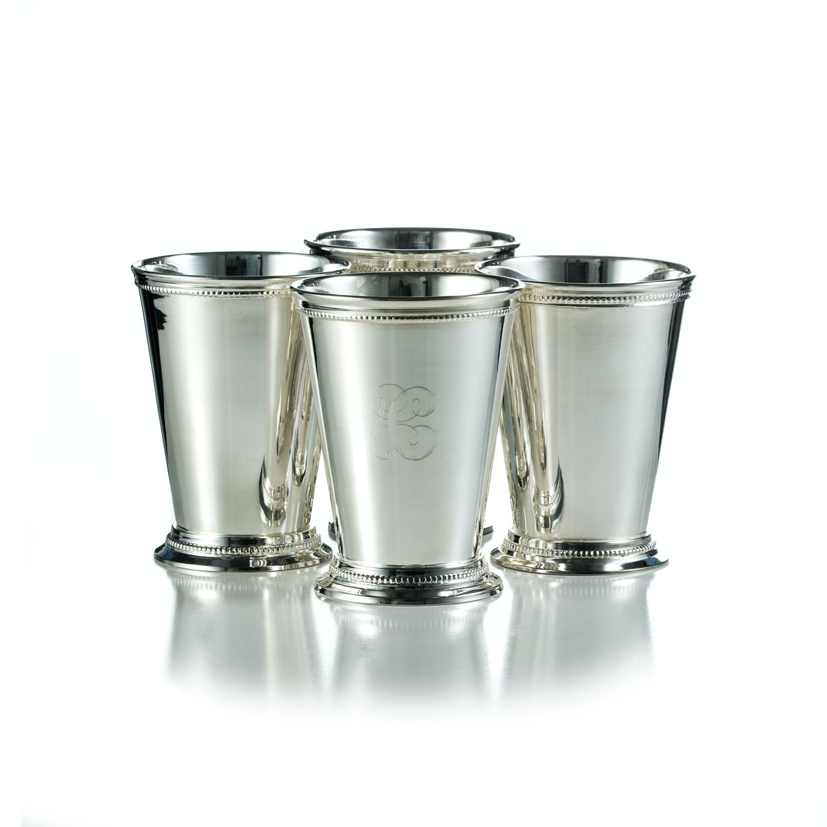 Silver-plated mint julep cups, $200 for a set of four.