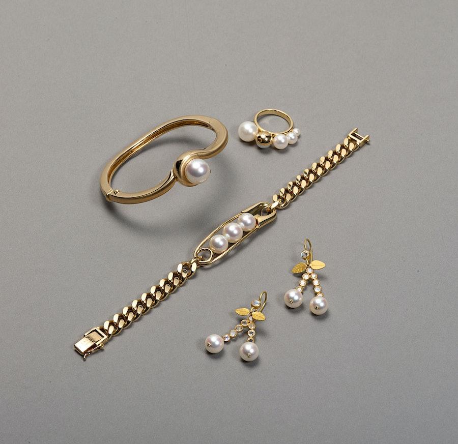 Clockwise, from top left: Angela Cummings for Assael bangle; M/G Tasaki ring; Tasaki Collection by Thakoon bracelet; Marie-Hélène de Taillac earrings.