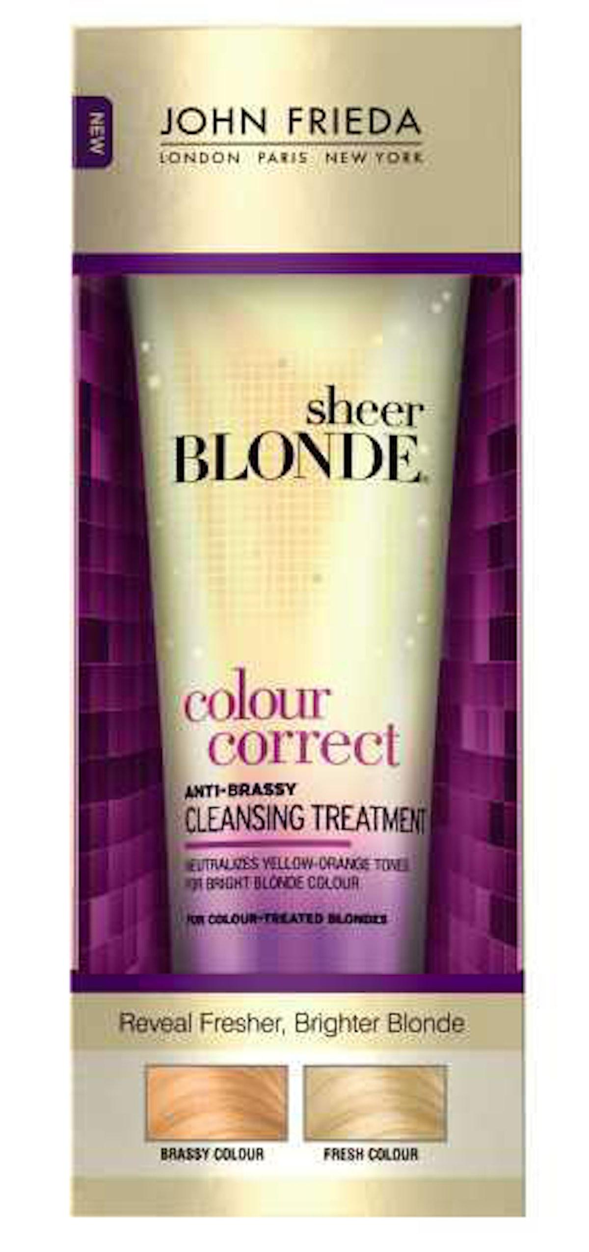 *John Frieda Sheer Blonde Colour Correct Anti-Brassy Cleansing Treatment, $9,* *[johnfrieda.com](http://www.johnfrieda.com/en-US/ProductDetail/Hair-Care/Sheer-Blonde/Sheer-Blonde-Colour-Correct-Treatment).*