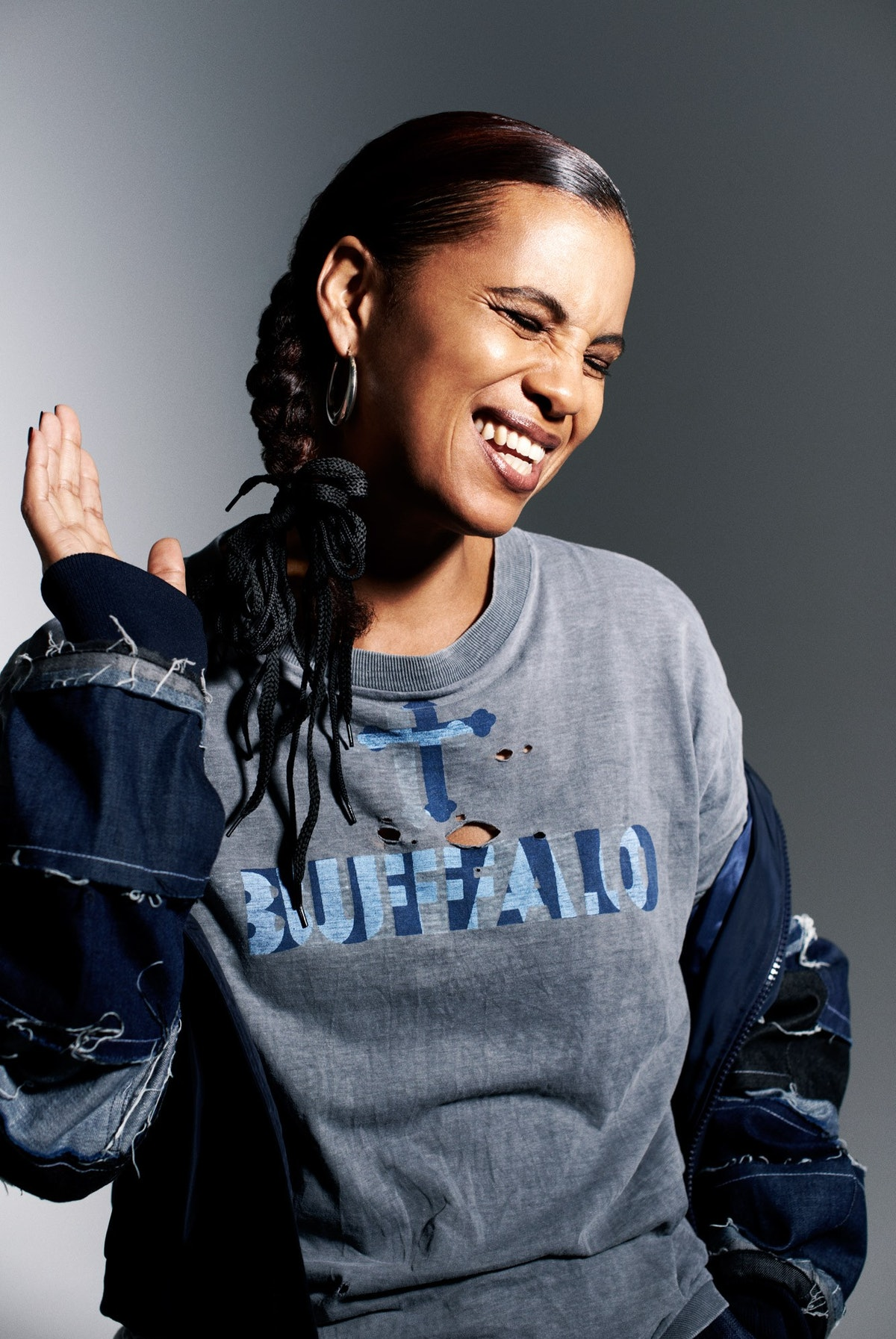 Neneh Cherry, in London, wearing an original Buffalo T-shirt by Ray Petri and a Christopher Shannon jacket.