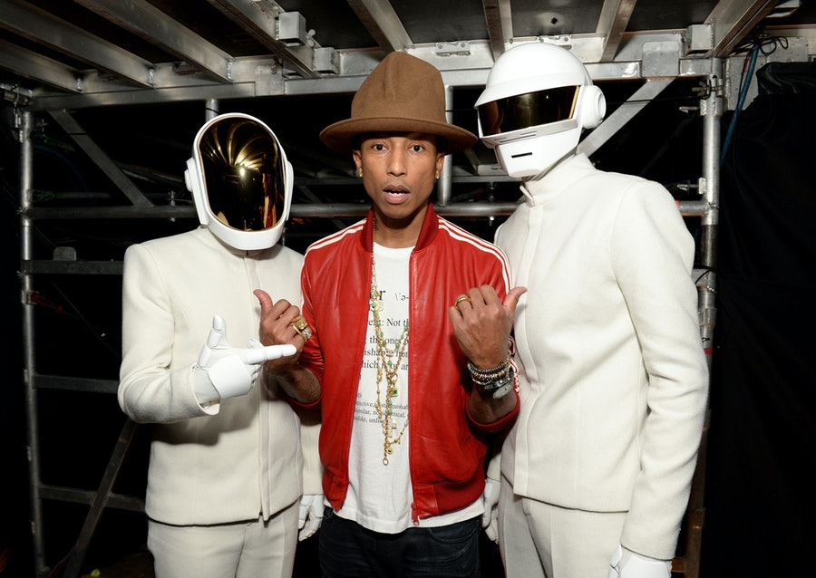 Pharrell and Daft Punk at the Grammys. Photo by WireImage