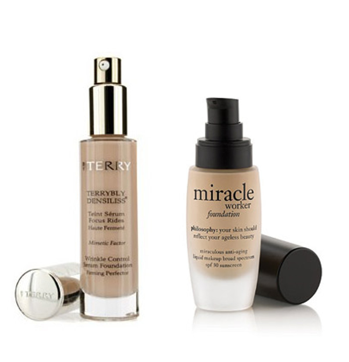 __Philosophy Miracle Worker__ __Anti-Aging Liquid Makeup, $38,__ __[sephora.com](http://rstyle.me/n/c47cy3w3n); By Terry Terrybly__ __Densiliss Wrinkle Control__ __Serum Foundation,__ $115, [barneys.com](http://rstyle.me/n/eskg23w3n).