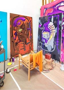 Aaron Curry's studio.