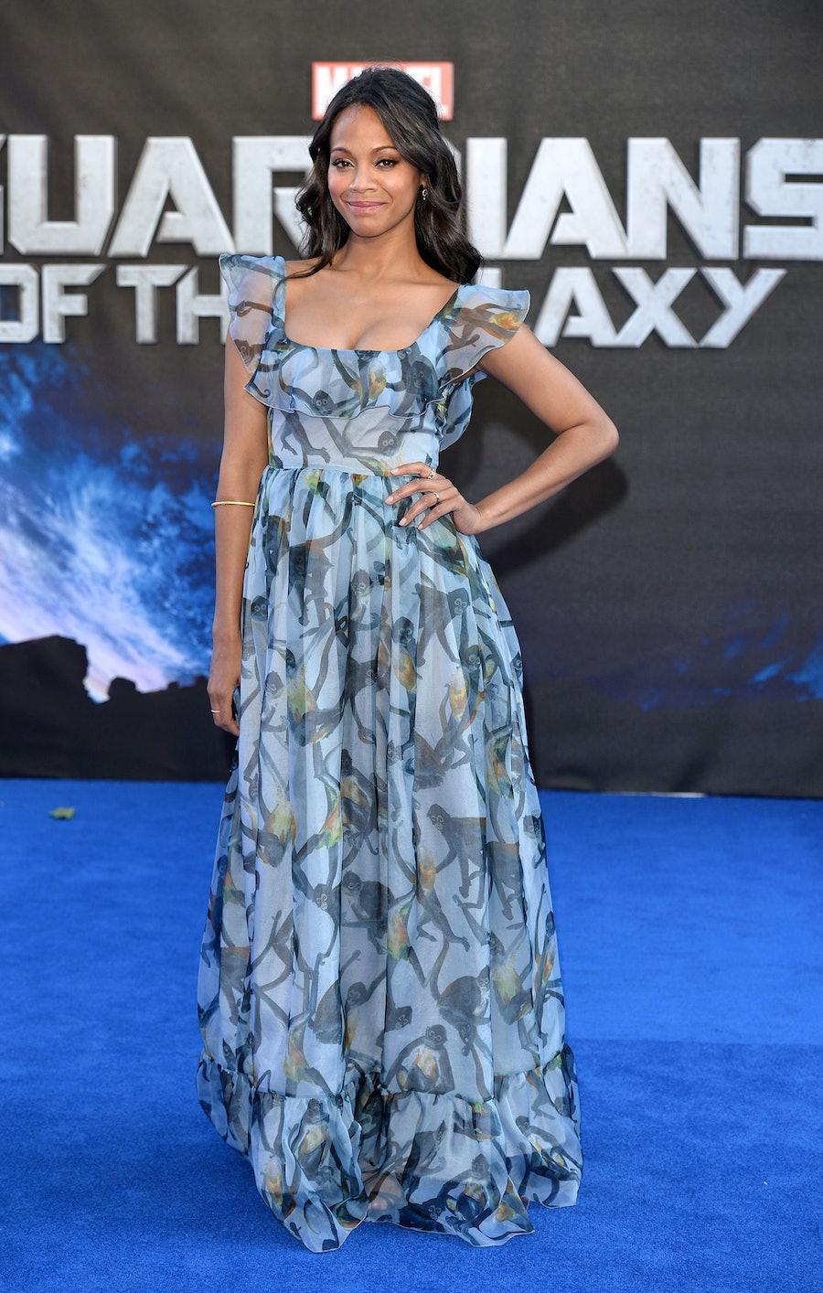 Zoe Saldana shows off her pregnancy in Valentino