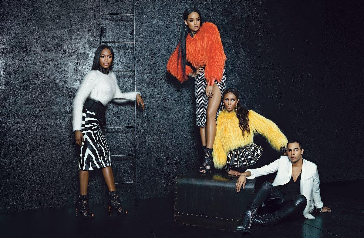 Balmain Rihanna, Iman, Naomi Campbell, Olivier Rousteing