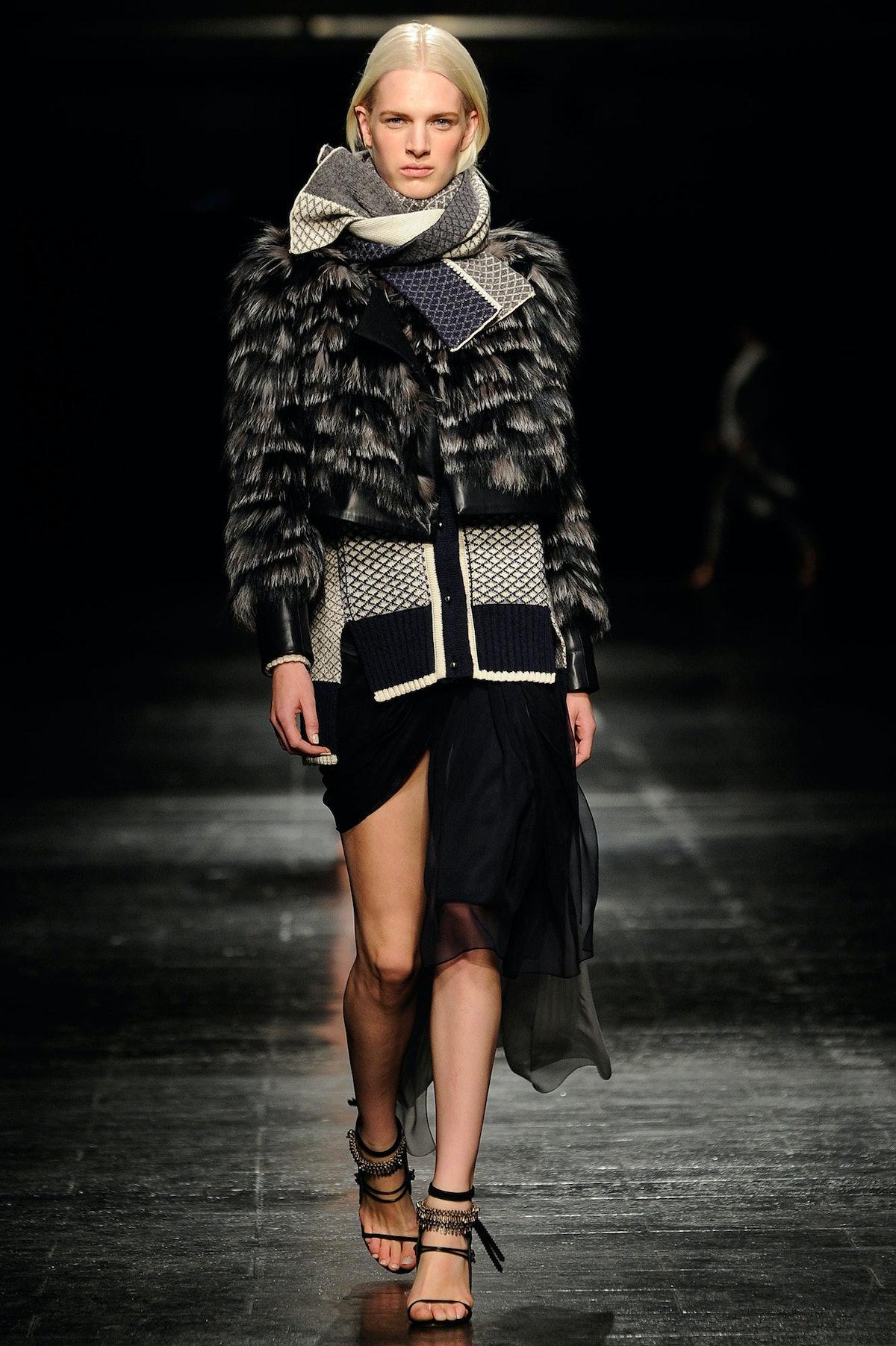 Prabal Gurung fox and leather jacket