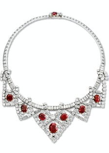 1951 platinum, diamond, and ruby necklace