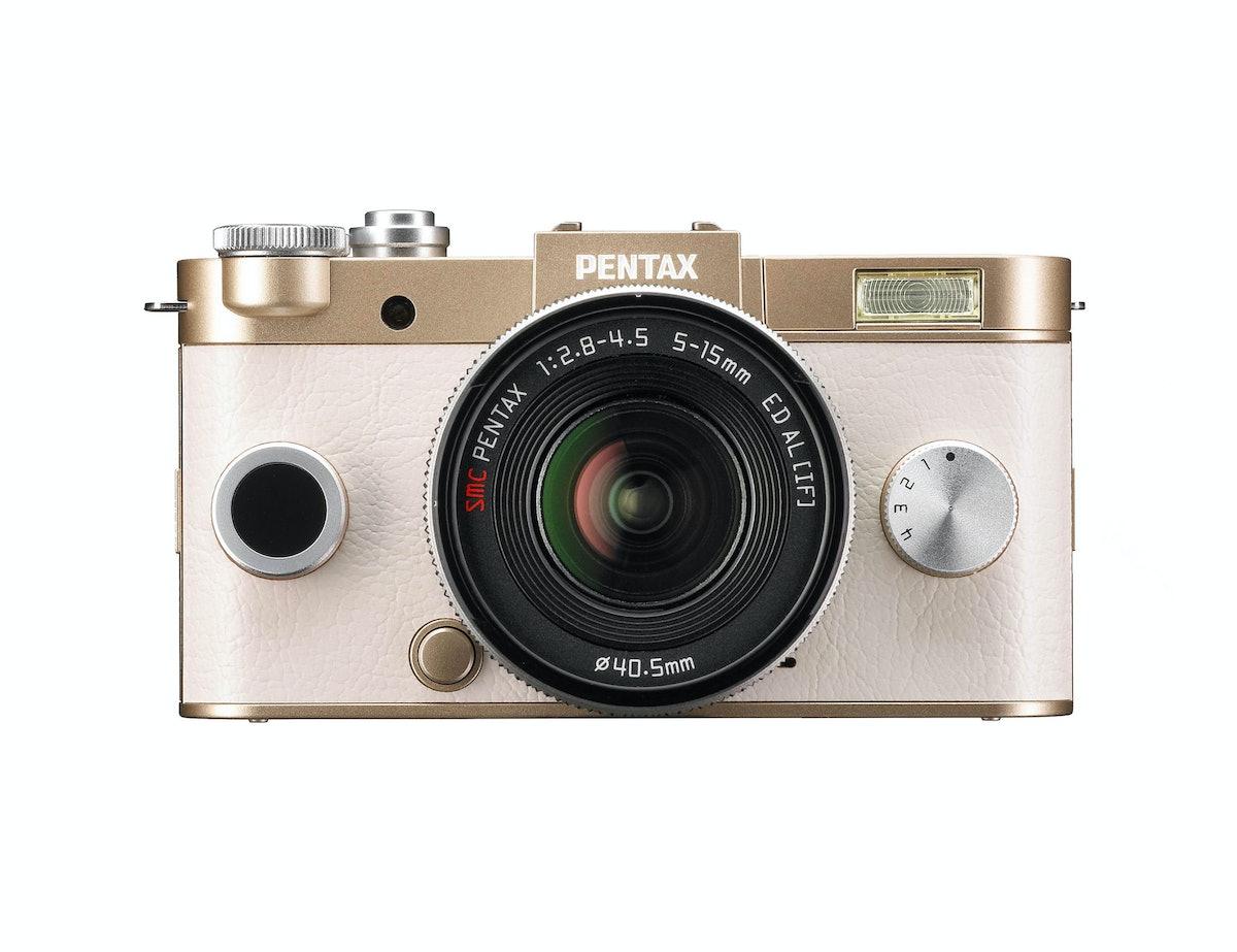 Pentax Q-S1 camera in champagne gold