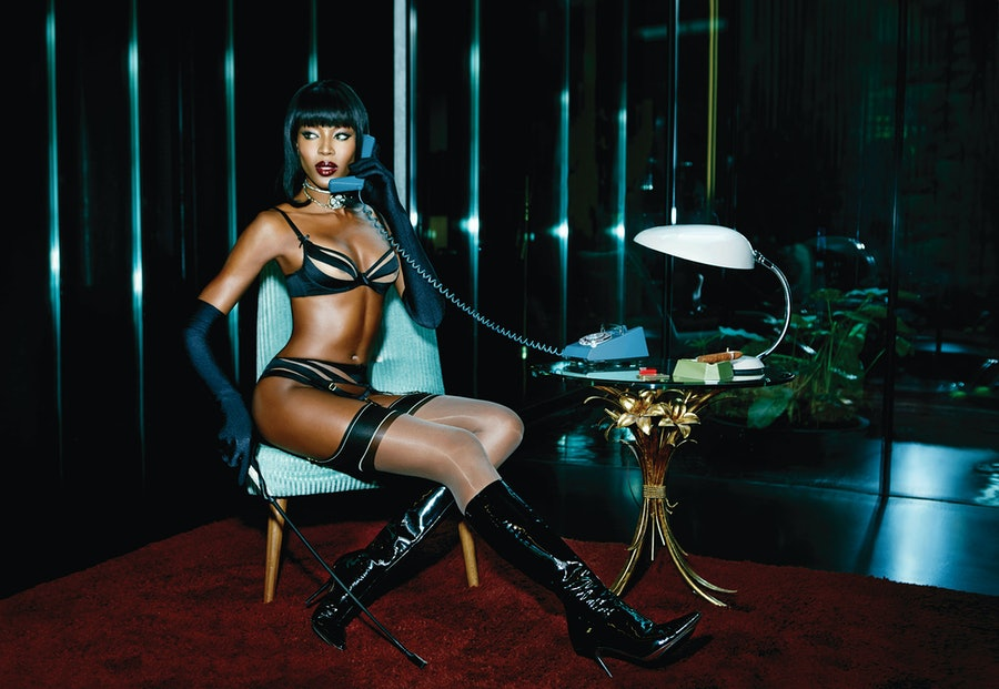 Naomi Campbell in Evalyne for Agent Provocateur