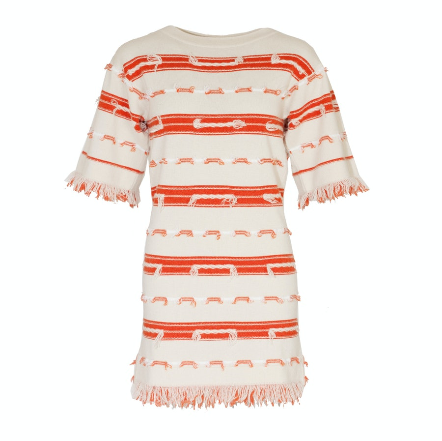 Barrie orange and white striped cashmere dress