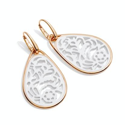 Pomellato 18k Rose gold and white agate earrings