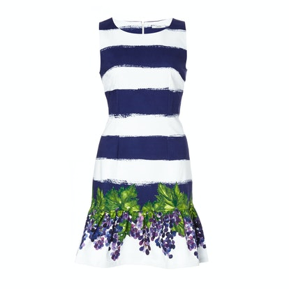 Isolda striped cotton frilled dress