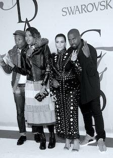Pharrell Williams, Helen Lasichanh, Kim Kardashian, and Kanye West