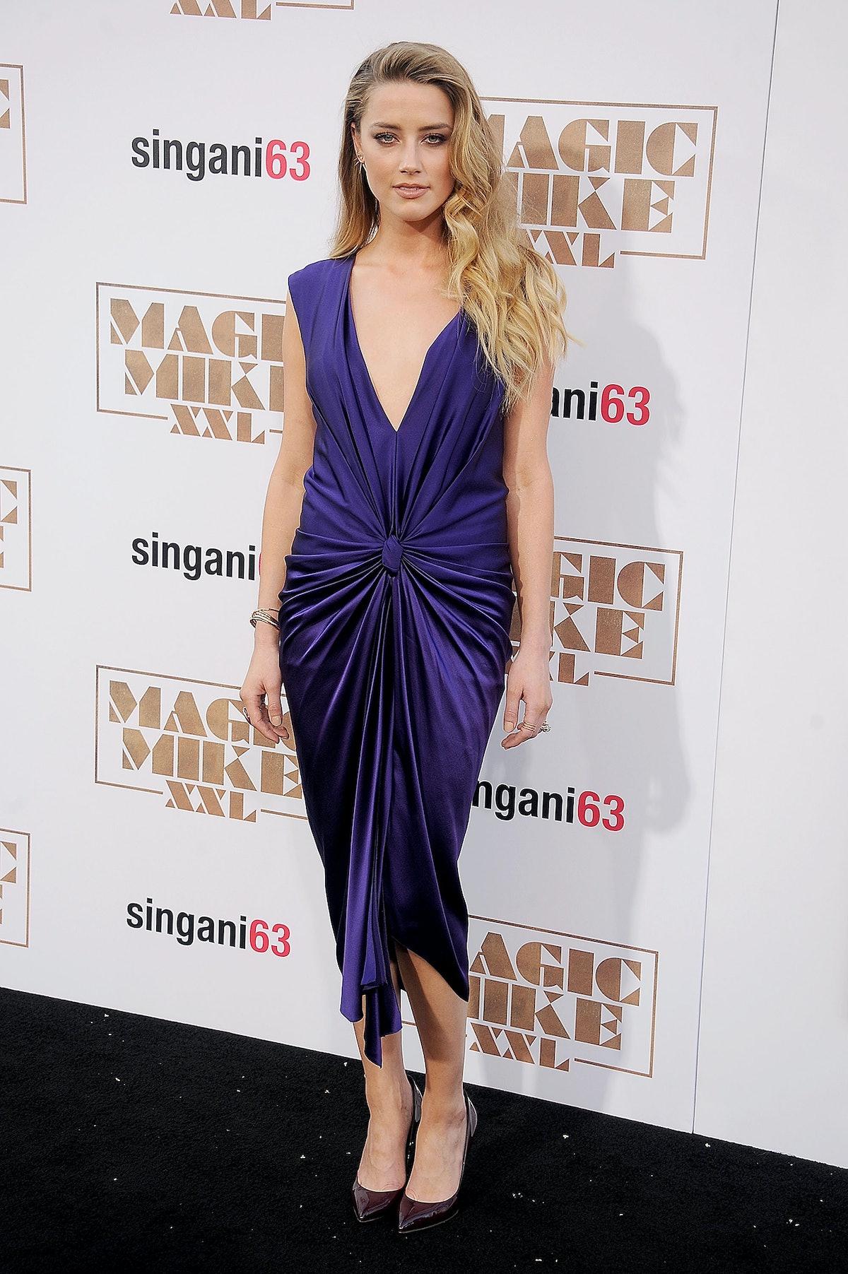 Amber Heard in Monique Lhuillier