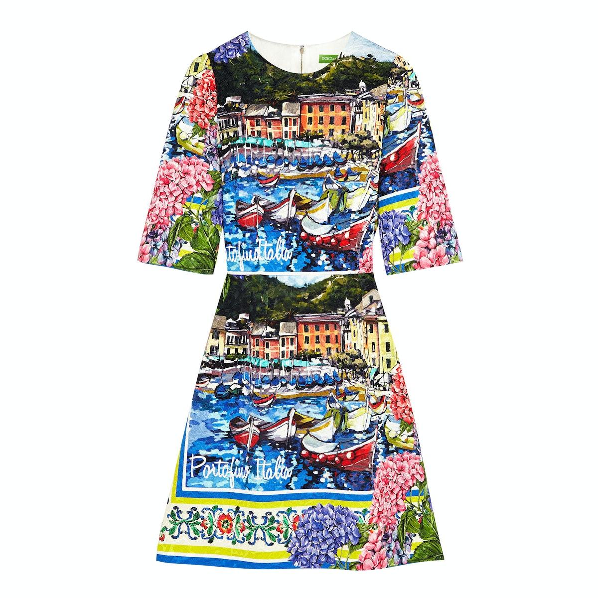 Dolce & Gabbana Portofino printed brocade mini dress