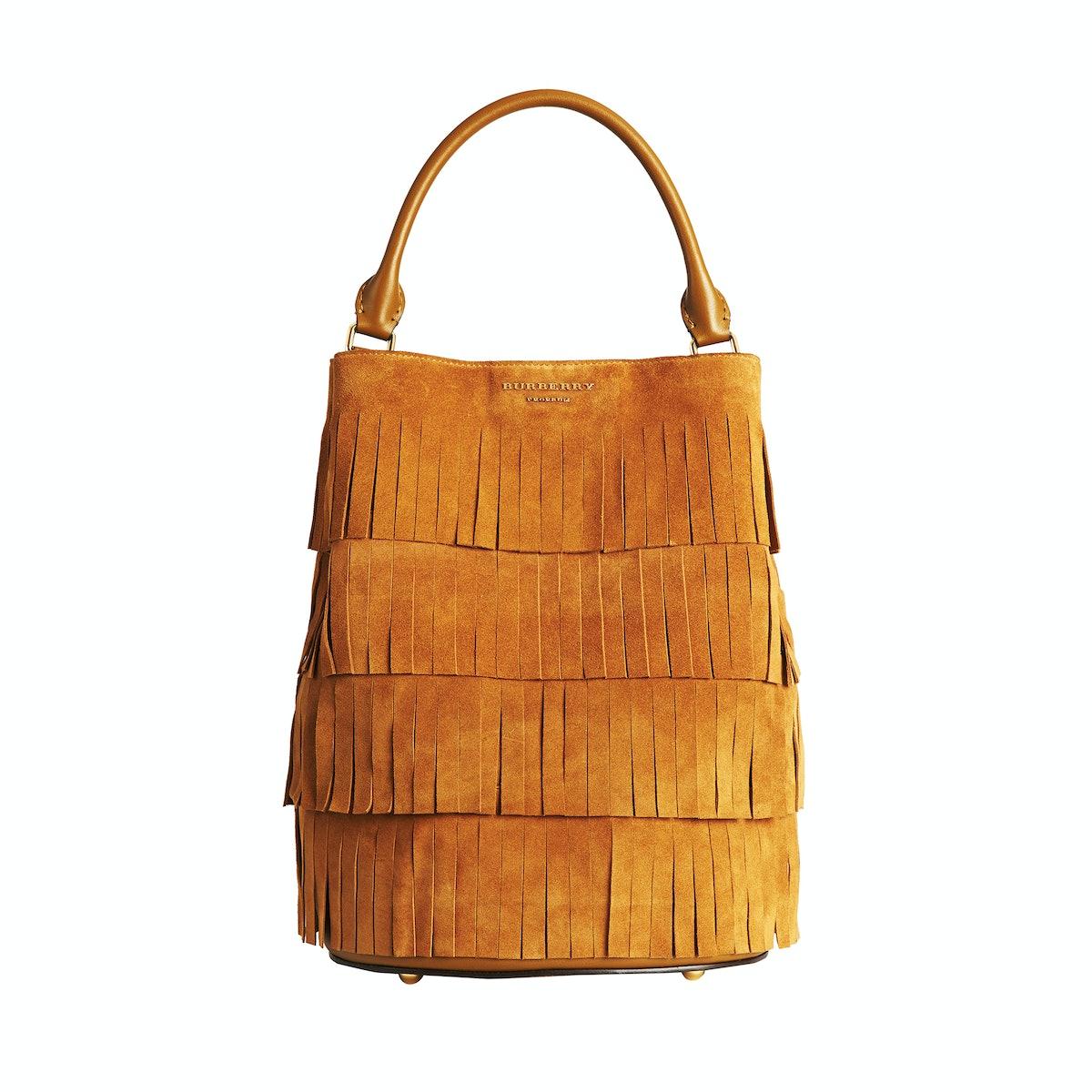 Burberry Bucket Bag in Tiered Suede Fringe
