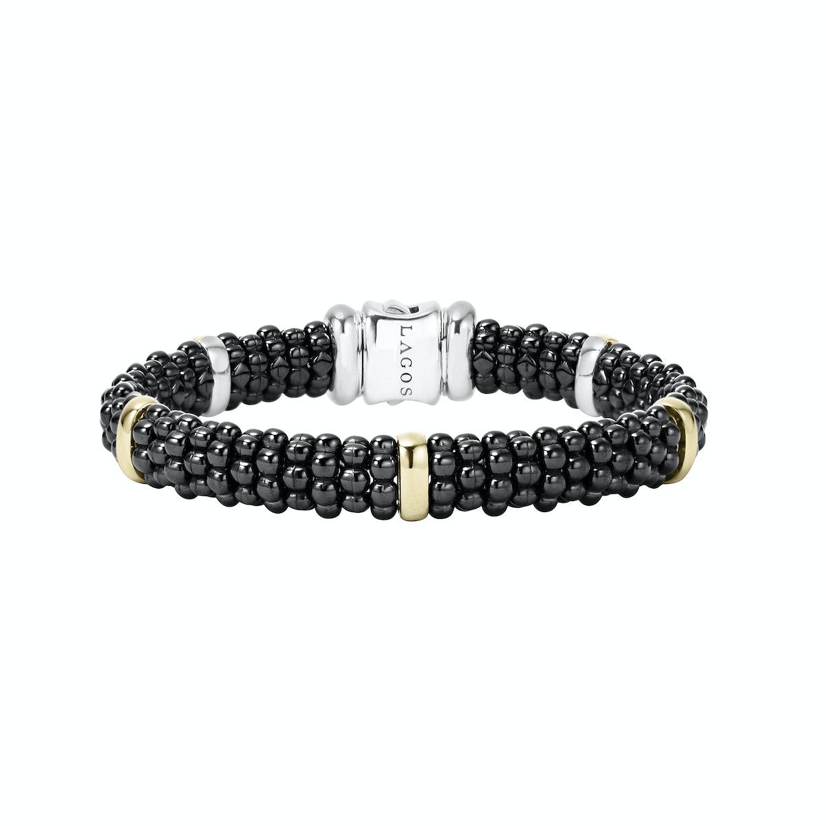 Lagos 18k gold and ceramic Black Caviar bracelet