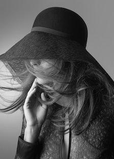 ERES + Maison Michel rabbit-felt and lace wide-brim hat