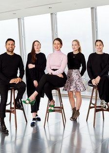The British Fashion Council/Vogue Designer Fashion Fund finalists: from left, Osman Yousefzada, Osma...