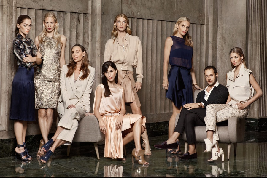 Creative Director Sofia Sanchez Barrenechea, model Poppy Delevingne, costume designer Jacqui Getty, stylist Caroline Sieber, model Angela Lindvall, philanthropist Jamie Tisch, Ferragamo creative director Massimiliano Giornetti, and model Jessica Hart, at the Wallis Annenberg Center for the Performing Arts. All women wear Salvatore Ferragamo.