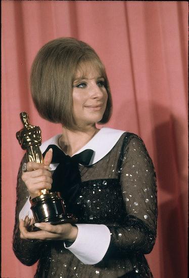 Barbra Streisand accepting an Oscar