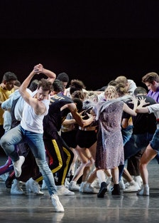 4_Robert Fairchild and New York City Ballet in Justin Peck's The Times Are Racing. Photo credit Paul...