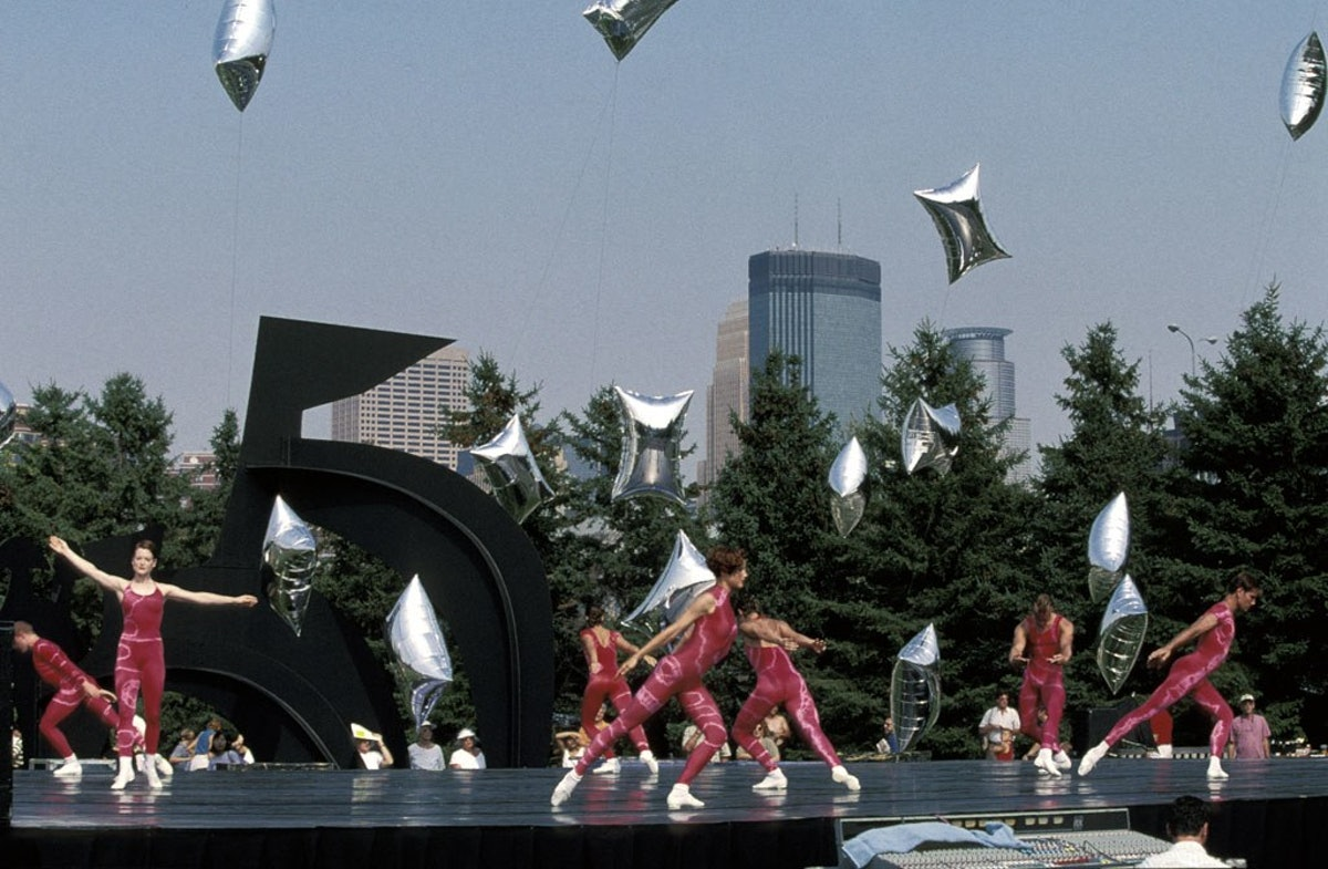 """Performing Arts, 10th Anniversary of Minneapolis Sculpture Garden.  Among the day's activities is the signature event, the performance """"Event for the Garden"""" by The Merce Cunningham Dance Company, with Musical Director Takehisa Kosugi, experimental compos"""