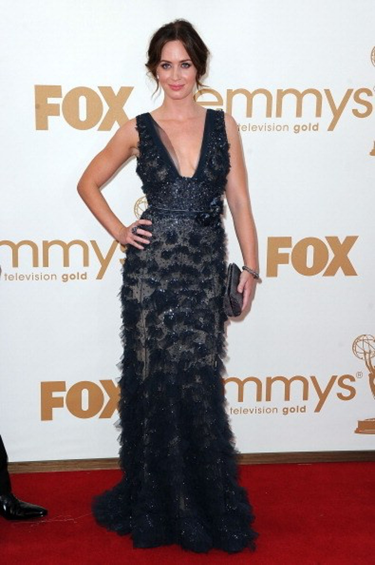 Emily Blunt in black gown at Emmys.