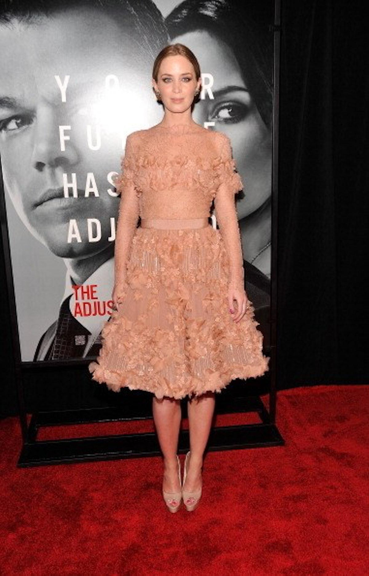 Emily Blunt in a flowery nude dress.