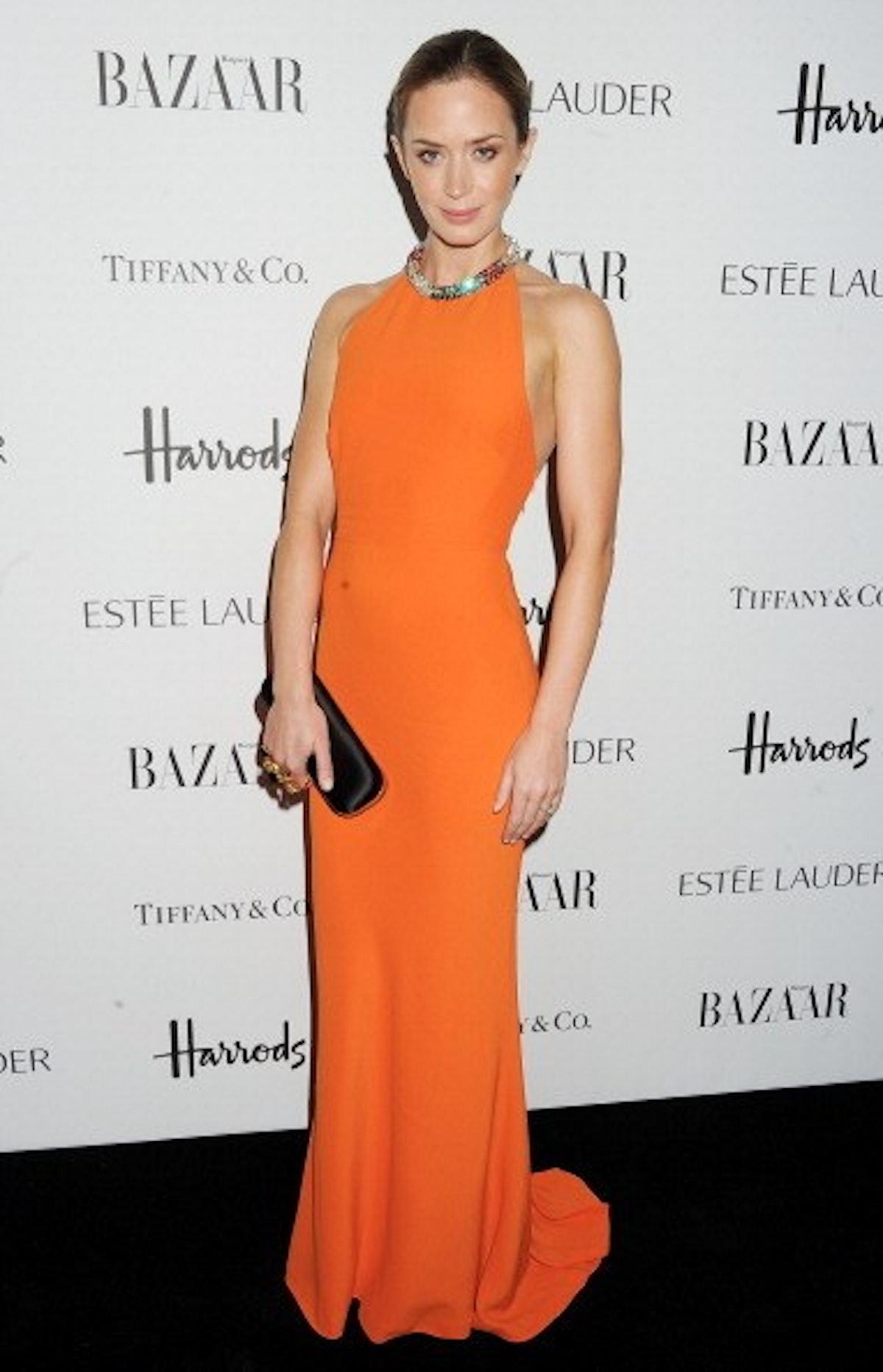Emily Blunt in an Orange Dress.