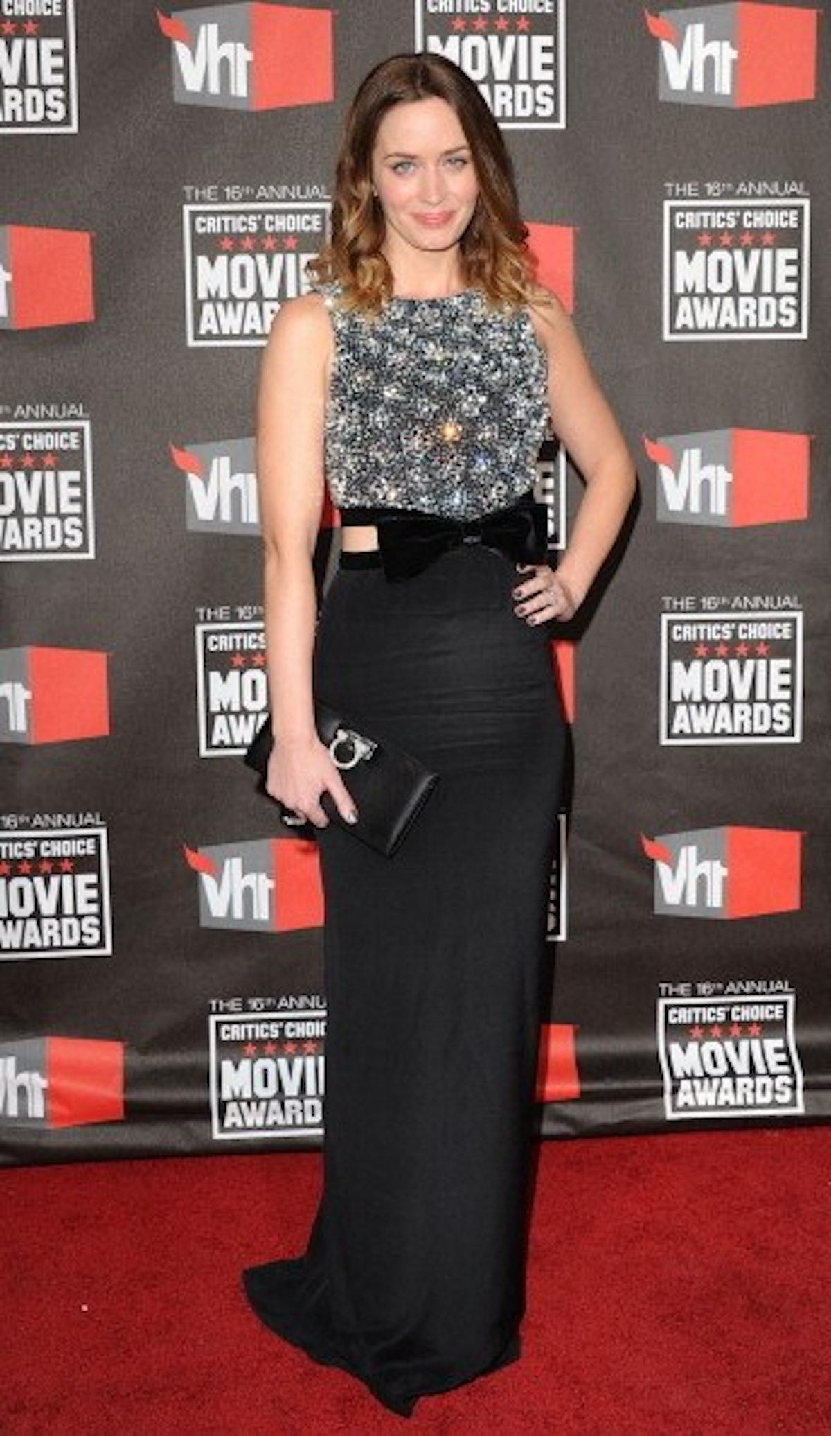 Emily Blunt in a beaded metallic top of sorts.