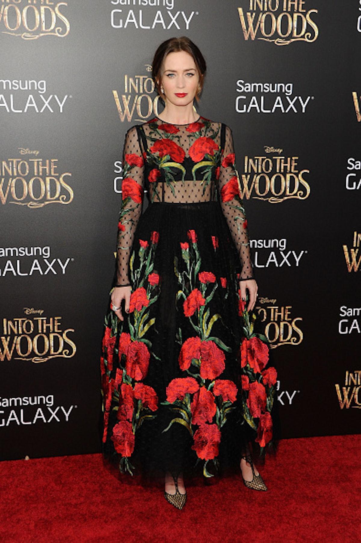 Emily Blunt in roses.