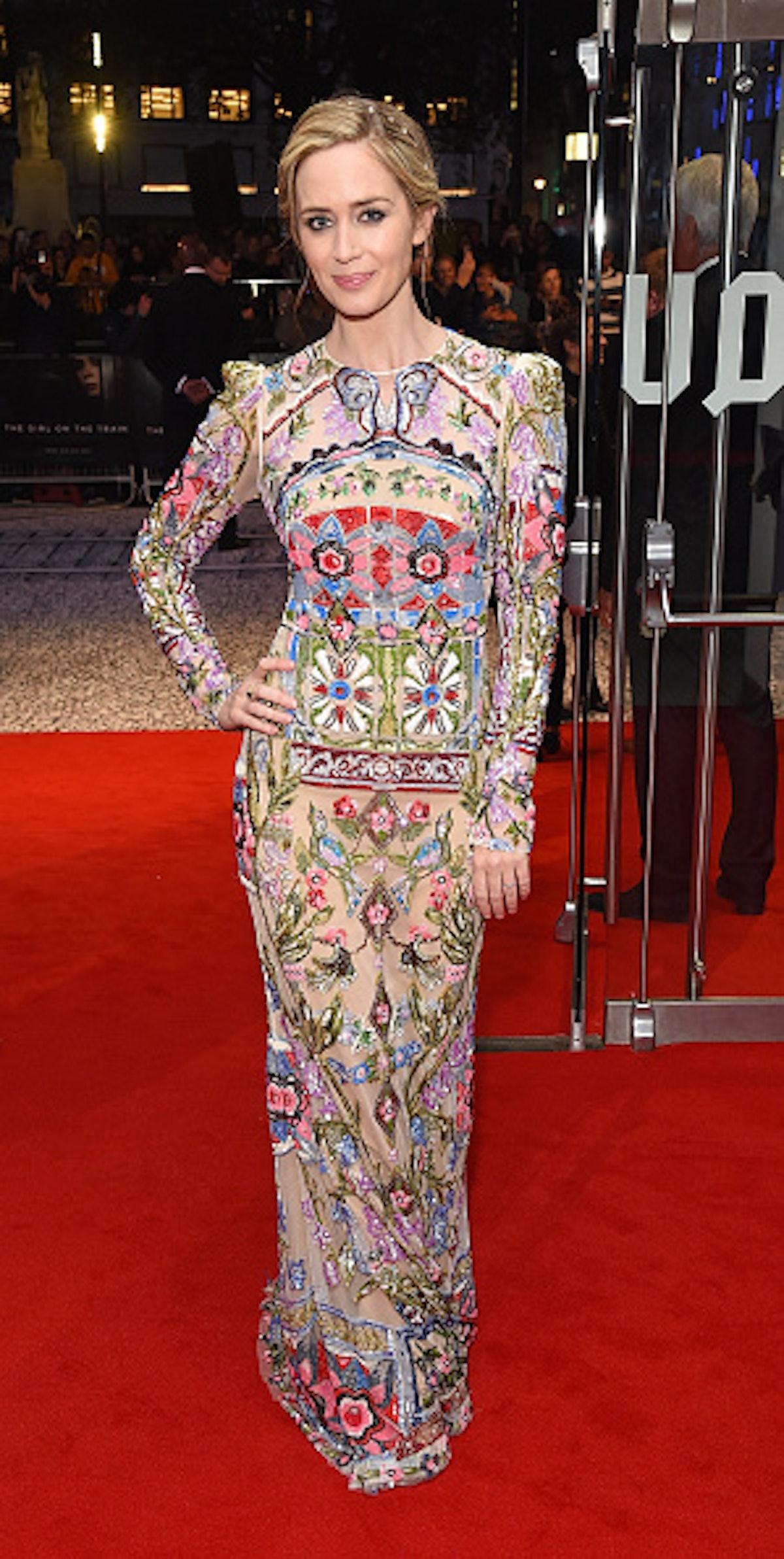 Emily Blunt in floral dress.
