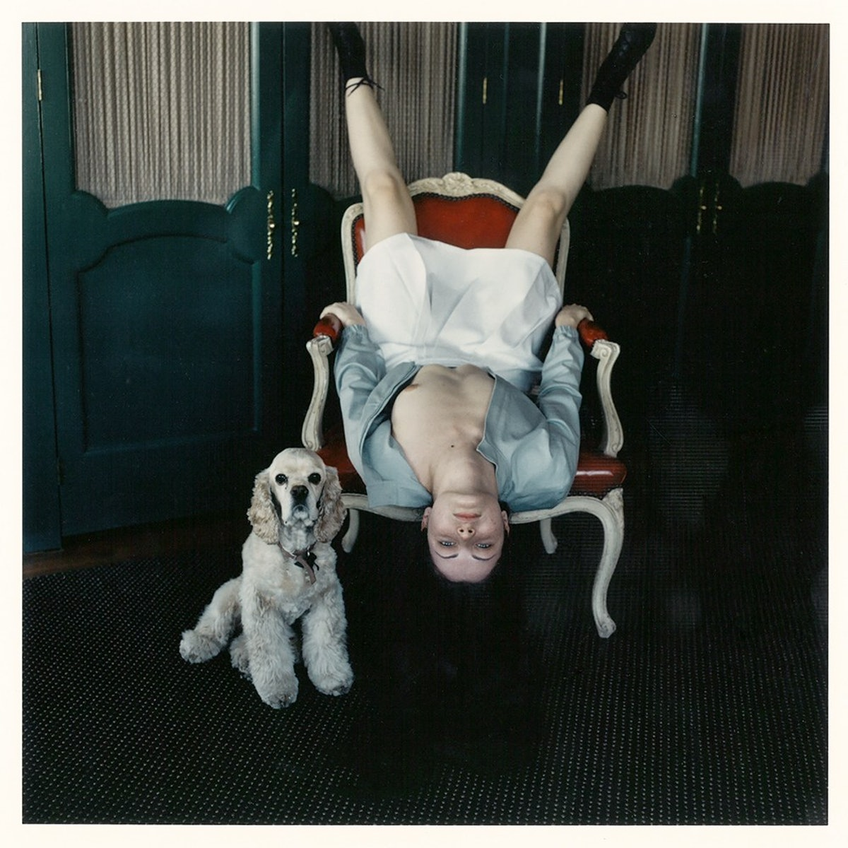 3 Kat Upside Down in Chair with Dog.jpg