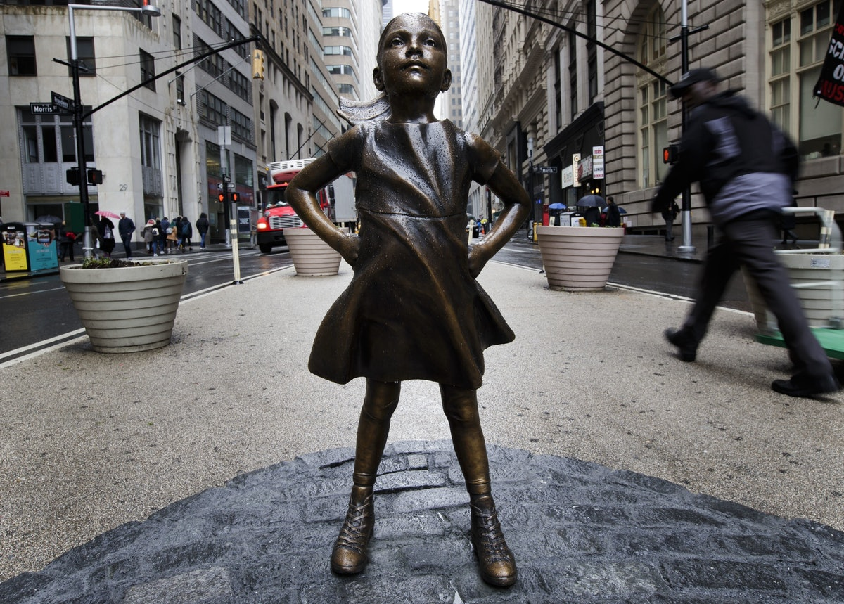 Sculpture of Little Girl Installed in Lower Manhattan, New York, USA - 07 Mar 2017