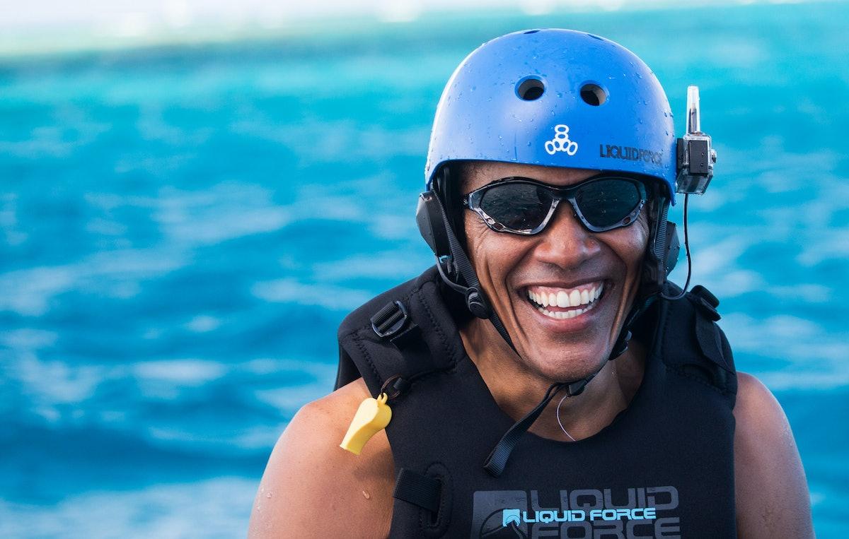 Former President Barack Obama Goes Kitesurfing In The Caribbean