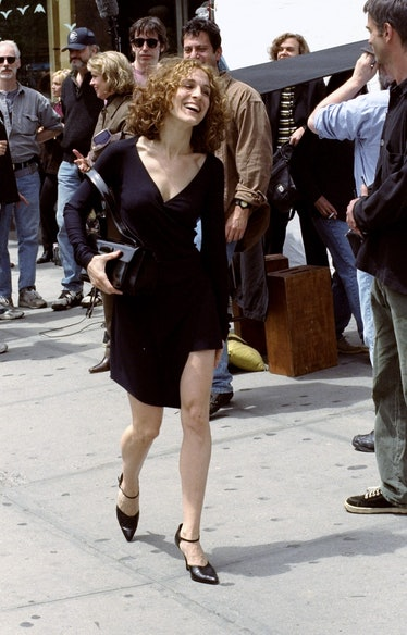 """Actress Sarah Jessica Parker during filming of """"Sex and the"""