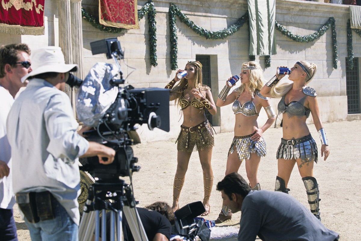 Beyonce Knowles, Britney Spears and Pink drink Pepsi during filming