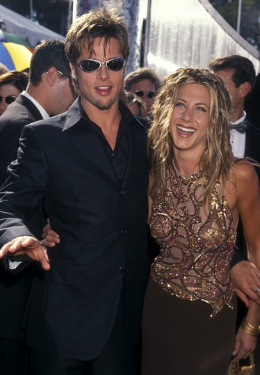 Pitt and aniston with wild hair