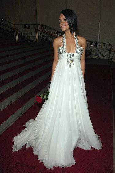 Rihanna in white dress