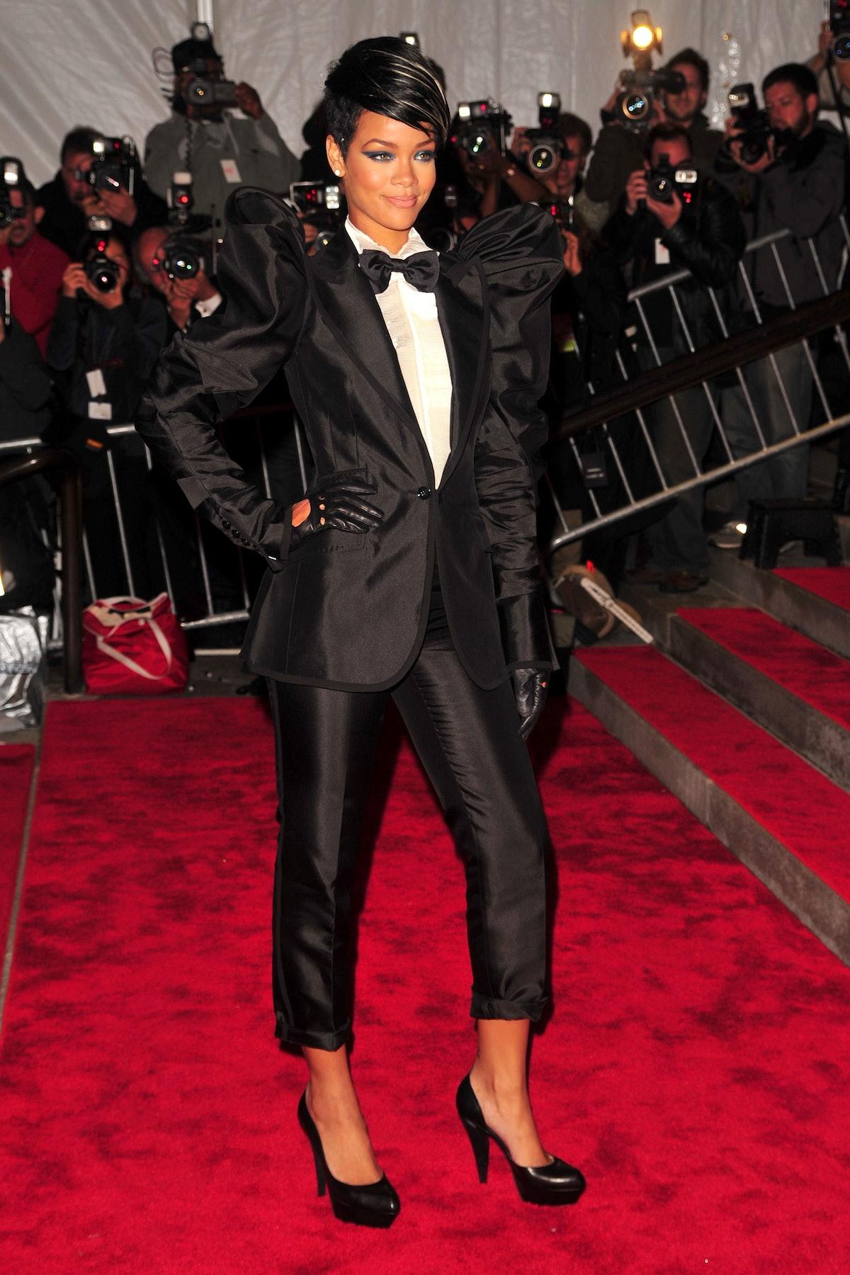 Rihanna in tuxedo.