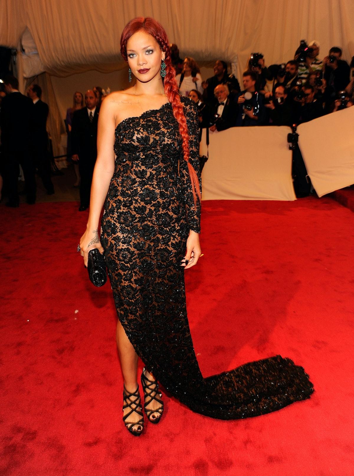 Rihanna in lace dress