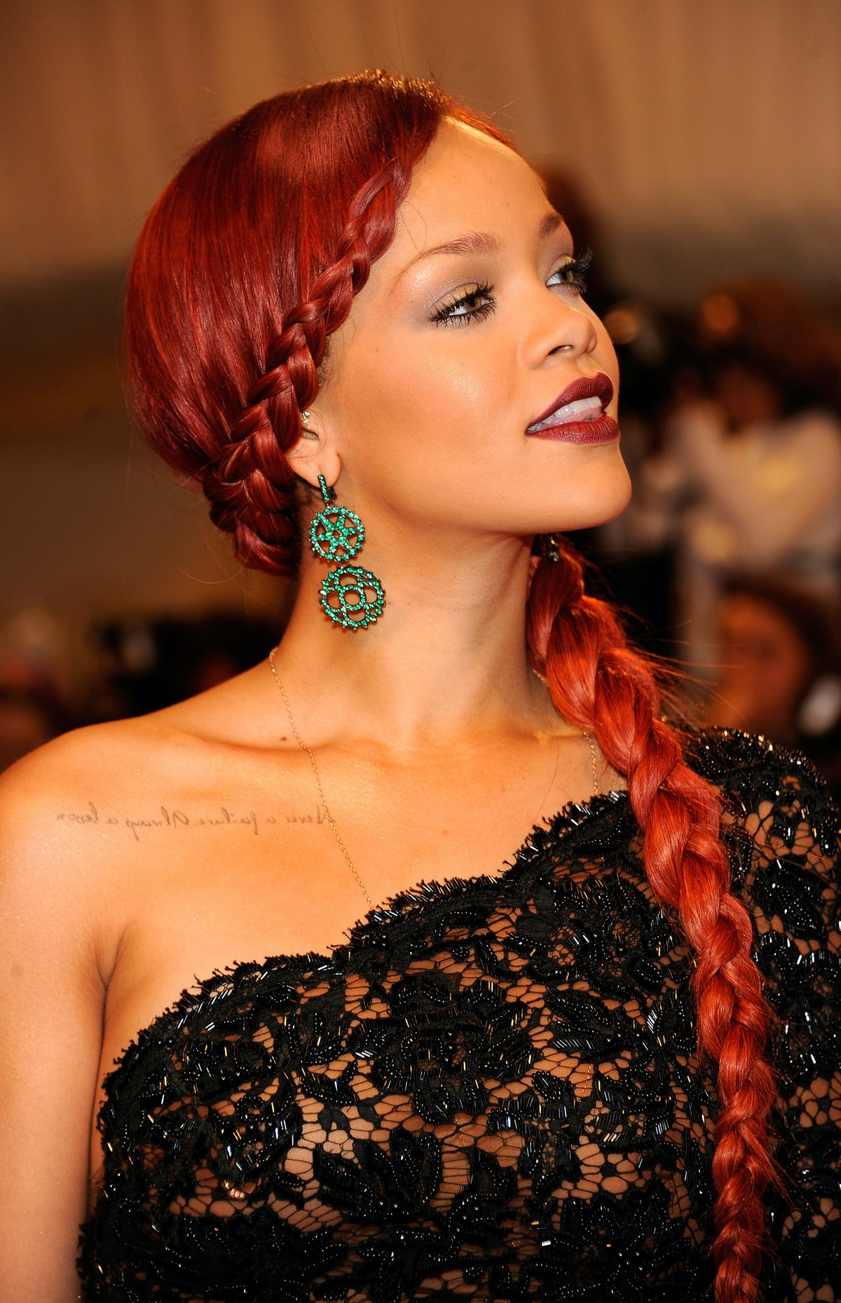 Rihanna with red dress