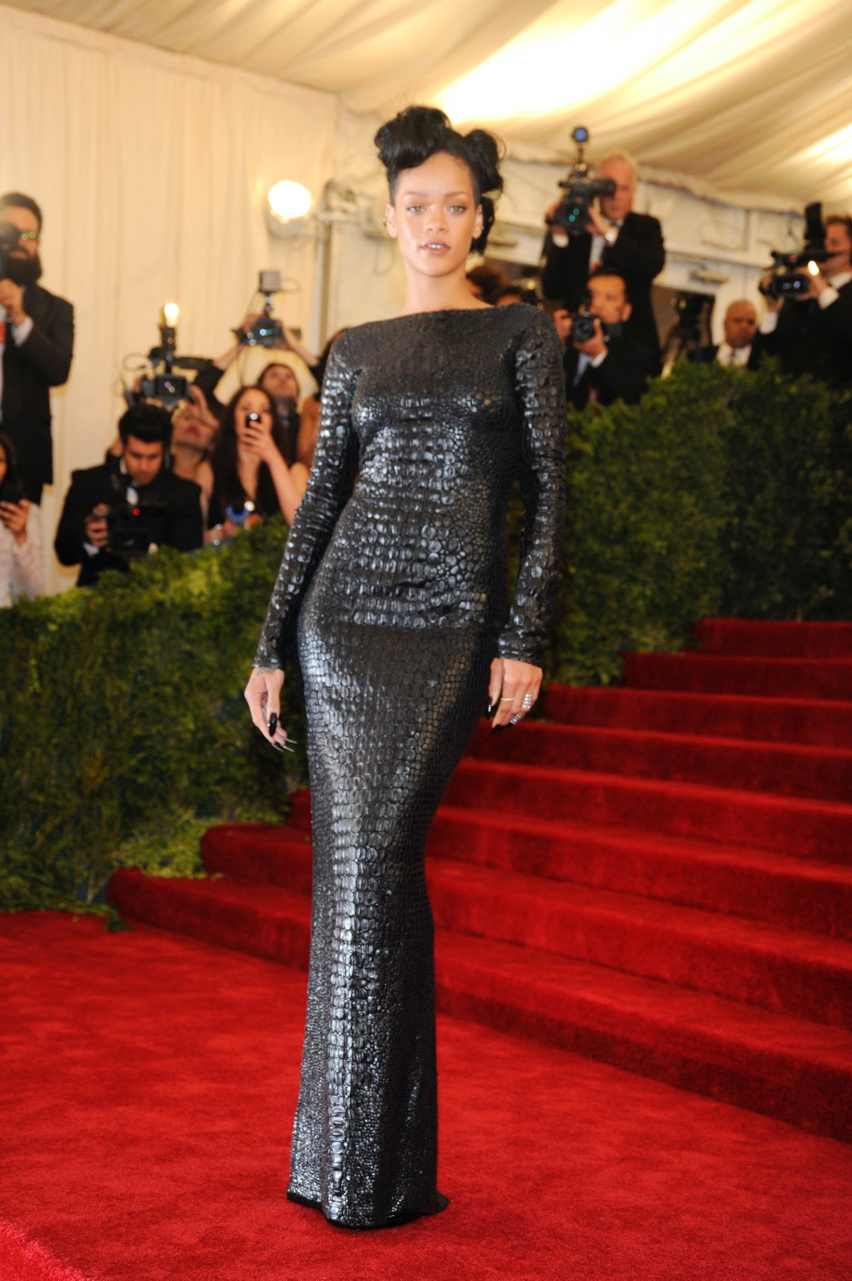 Rihanna in leather dress