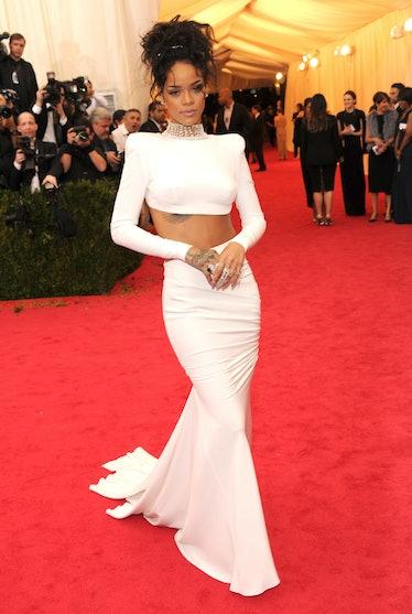 Rihanna in white croptop