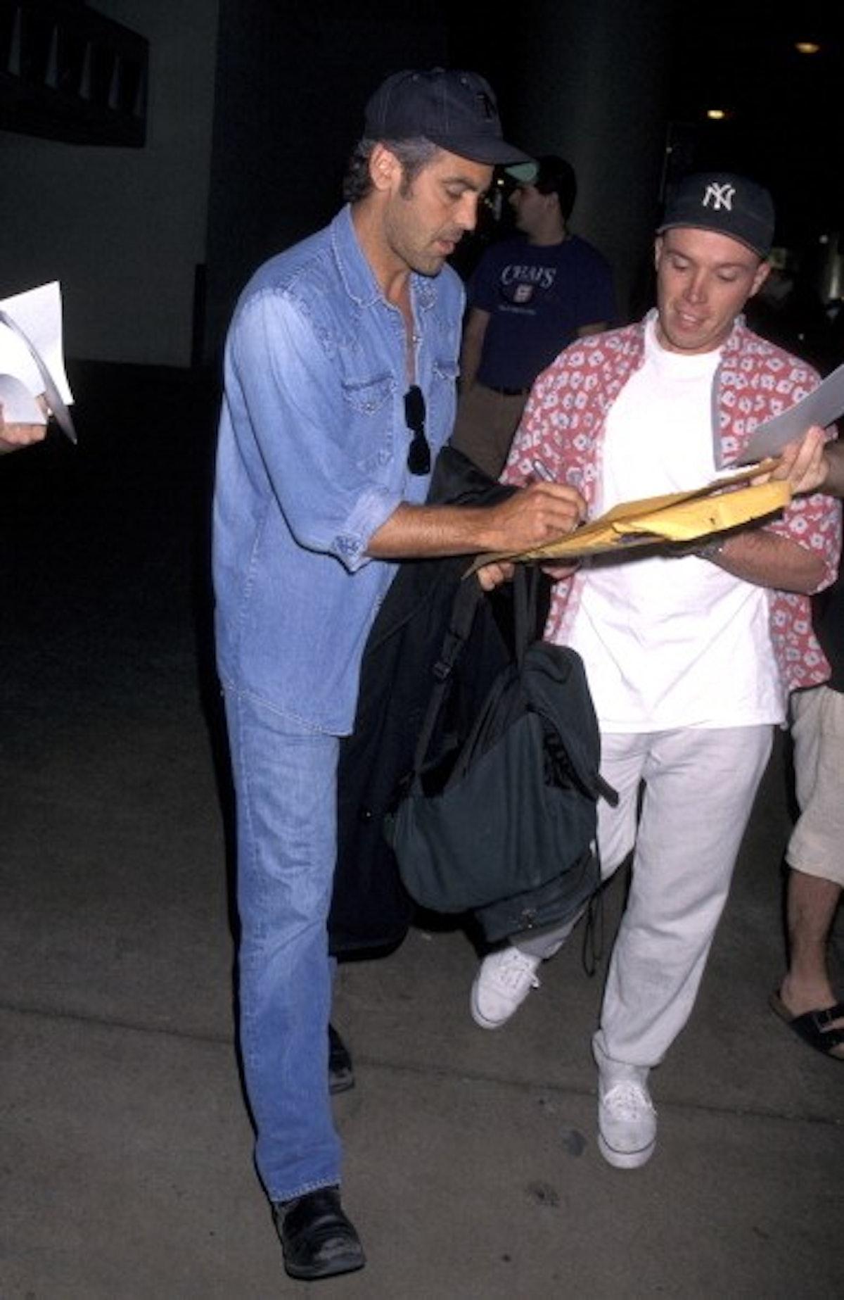 George wearing a Canadian tuxedo