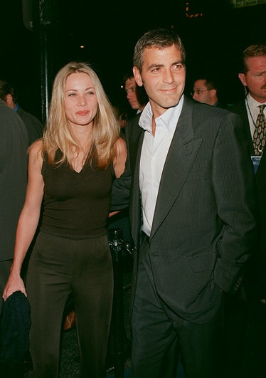 Celine Balitran and George Clooney at a red carpet premiere