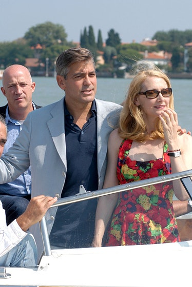 George and Patricia Clarkson arriving to Venice Film Festival on a water taxi