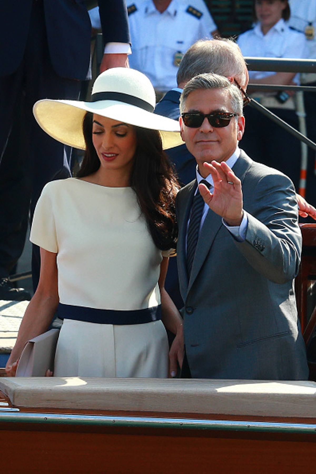 George and Amal on a Venetian water taxi